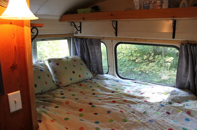 yellow bus mobile home bedroom
