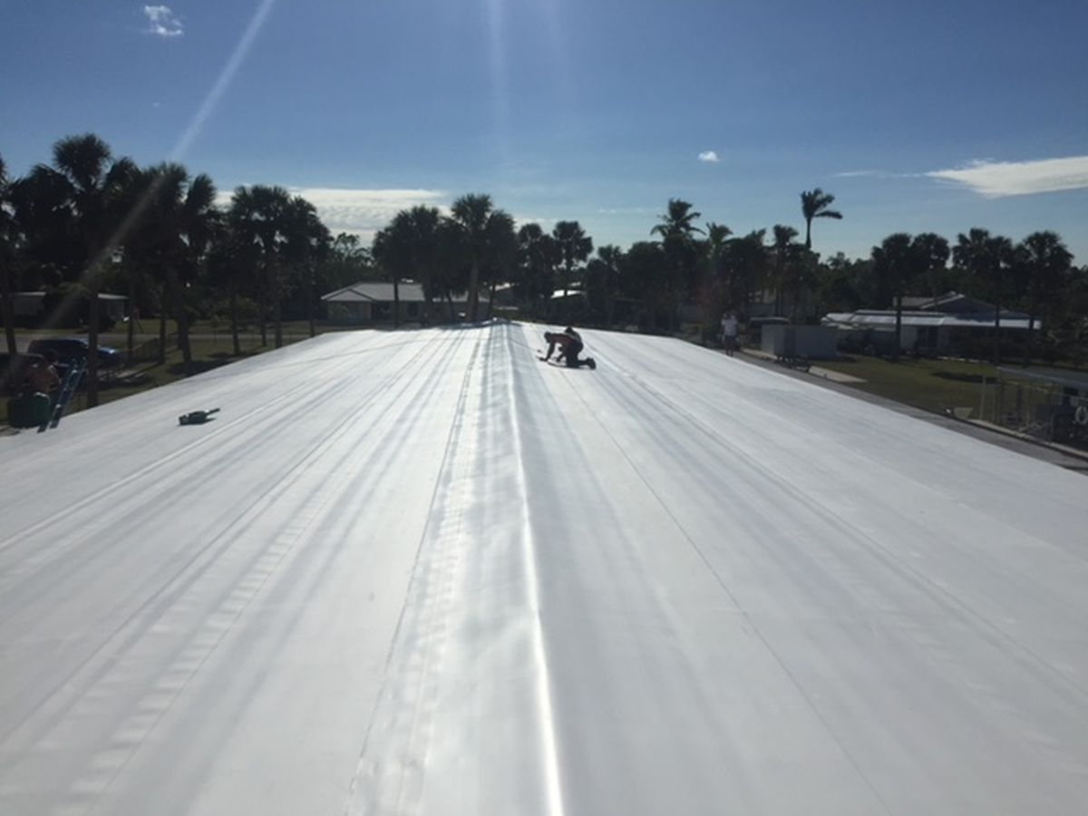Building in Naples, FL with a new mobile home roof over (After Photo)