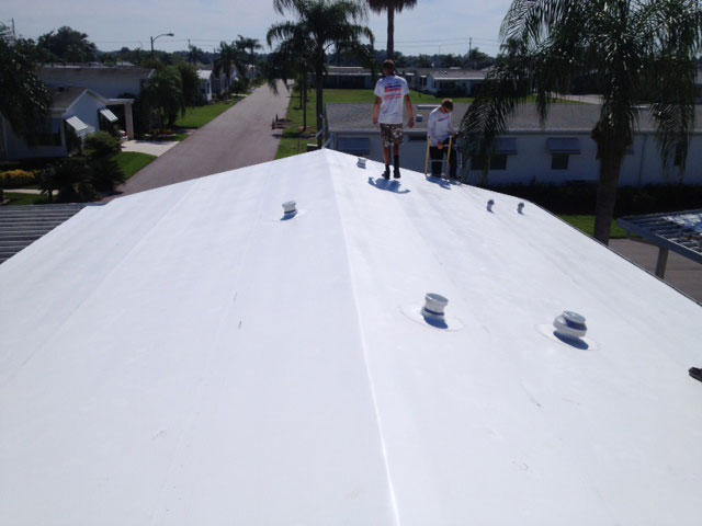 Photo of a roof after mobile home roof replacement